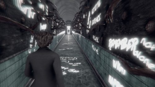 The protagonist of The Piano walks down a long brick alleyway, with glowing graffiti on the walls and ground. The shot is forward, over the protagonist's shoulder; the colors are monochrome, with hints of blue-gray. The Piano, Mistaken Visions, 2018