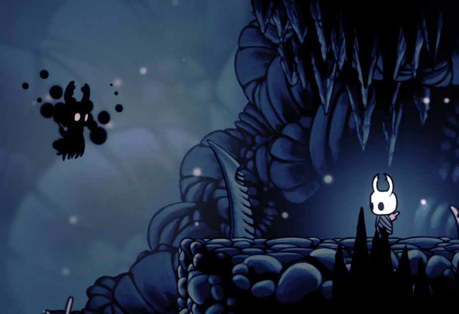 The player's vessel faces down a color-inverted, ghostly counterpart where they had previously died. Hollow Knight, Team Cherry, 2017