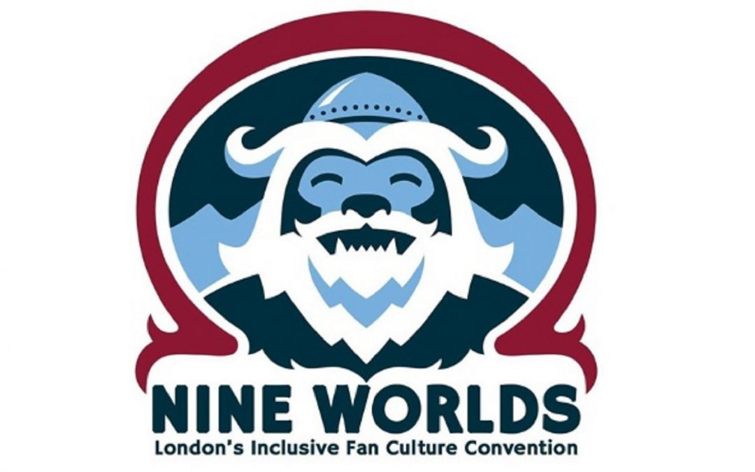 Logo of Nine Worlds convention, featuring a smiling Frost Giant