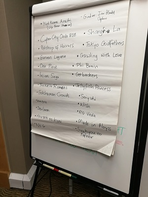 A flipchart paper listing several anime shows contain queer or queer-coded characters.