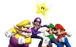 An image of Wario, Waluigi, Luigi, and Mario squaring off, as if in an argument.