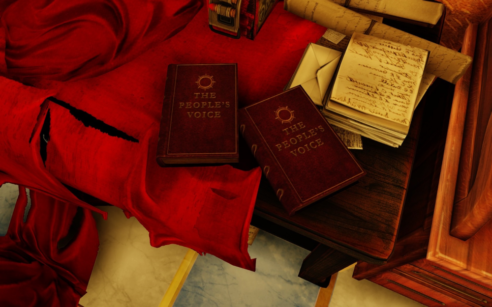 A screenshot of BioShock: Infinite showing The Peoples' Voice, a book by Daisy Fitzroy. BioShock Infinite, Irrational Games, 2K Games, 2013