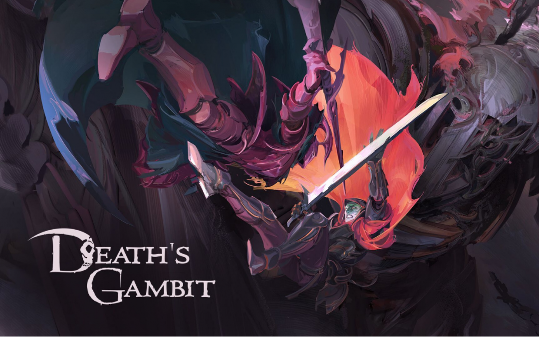 Key art featuring the lead of Death's Gambit fighting a monstrous knight. Death's Gambit, White Rabbit, Adult Swim Games, 2018