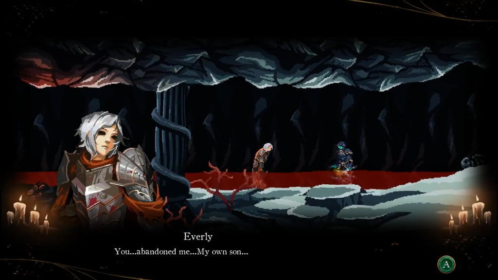 "A screenshot of Sorun confronting a spectre of his mother in the game's climax. Both characters are thigh-deep in red water, and the text (spoken by Everly) reads ""You...abandoned me...My own son..."" Death's Gambit, White Rabbit, Adult Swim Games, 2018"