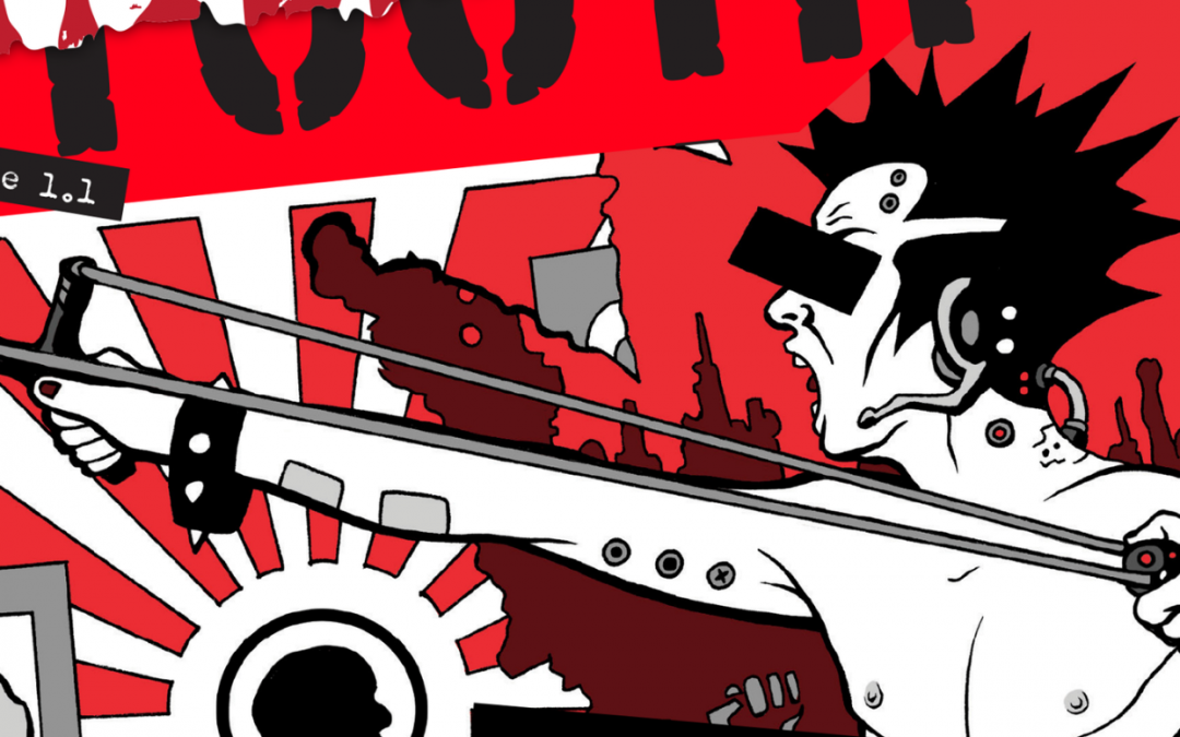 An image from the cover of Misspent Youth, in a comic book style. A person with short, spiky hair is screaming and pulling back a slingshot against a red and white background.