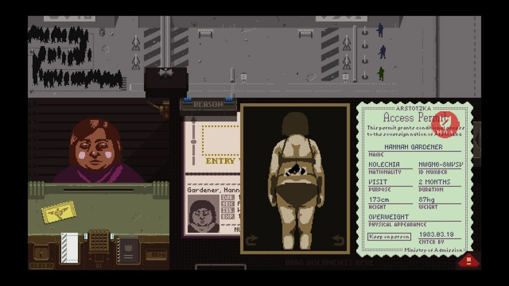 A Screenshot of Papers, Please showing a woman in her underwear with a gun strapped to her back. Papers, Please, Lucas Pope, 2013
