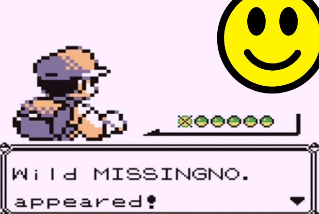 """A screenshot of one of the original Pokemon games depicting the trainer facing off against a Missingno, but the Missingno has been replaced with a smiley face. Beneath the trainer is text reading, """"Wild MISSINGNO. appeared!"""""""