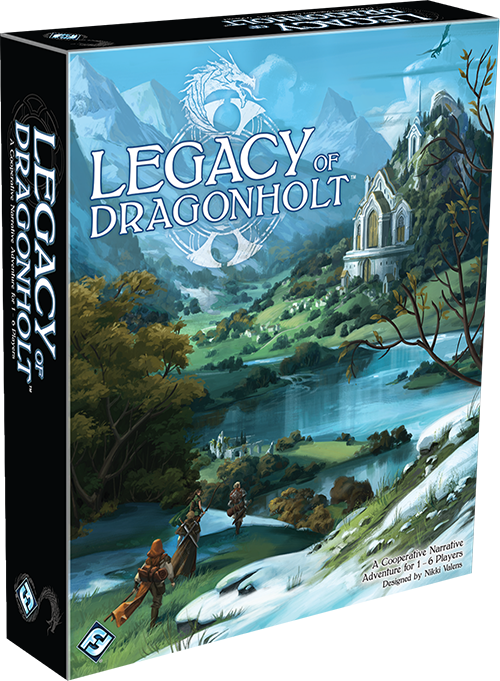 A photo of the Legacy of Dragonholt box. The box is rectangular, taller than it is wide, and the top cover is a painting of a party questing towards a castle. The castle is surrounded by mountains in the background and a river in the foreground. It also appears to be built into a hill.