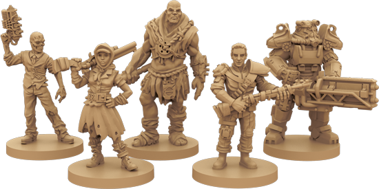 A photo of different player characters from Fallout: The Board Game. They're tan plastic, with character designs like those found in each game.