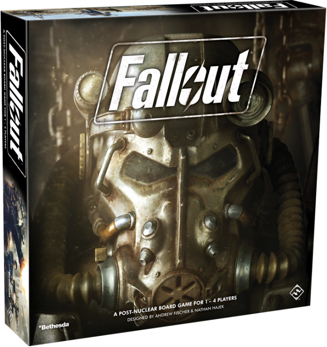 A photo of the Fallout Board game. The box is square, with an image of a full head, heavy-duty respirator mask front and center. The logo splashes across the image at the top center.