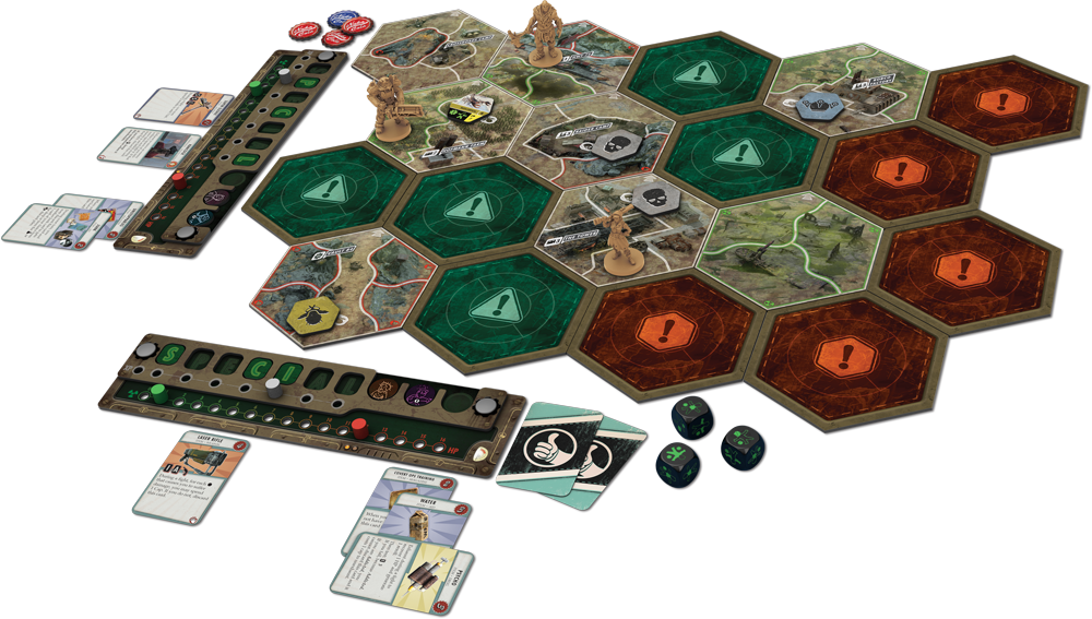 A photo of all of Fallout: The Board Game's pieces and cards laid out to play. The map pieces are hexagons, and each character has a small tracking panel meant to look like a control panel, as well as various small cards, tokens, and dice.