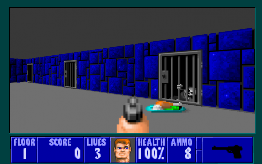 A screenshot from Castle Wolfenstein 3D, featuring a turkey dinner in front of a locked jail cell.
