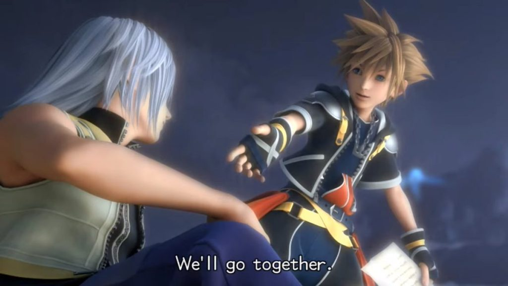 "Sora reaching out to Riku, with the words, ""We'll go together,"" superimposed on the screen. Kingdom Hearts II, Square Enix, 2005."