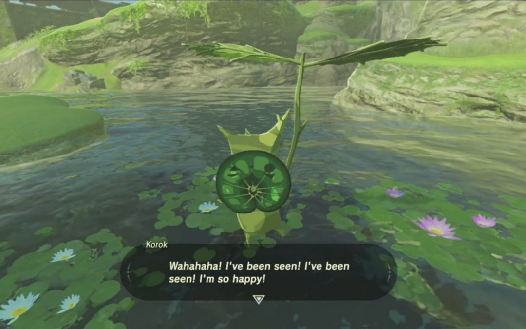"The back of a korok from Breath of the Wild. The korok is holding a leaf umbrella, and is saying, ""Wahahaha! I've been seen! I've been seen! I'm so happy!"""