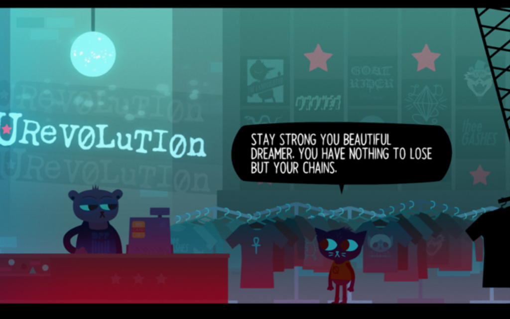 "Mae stands in a Hot Topic-esque store. To the clerk, she says, ""Stay strong you beautiful dreamer. You have nothing to lose but your chains."" Night in the Woods, Infinite Fall, Finji, 2017."
