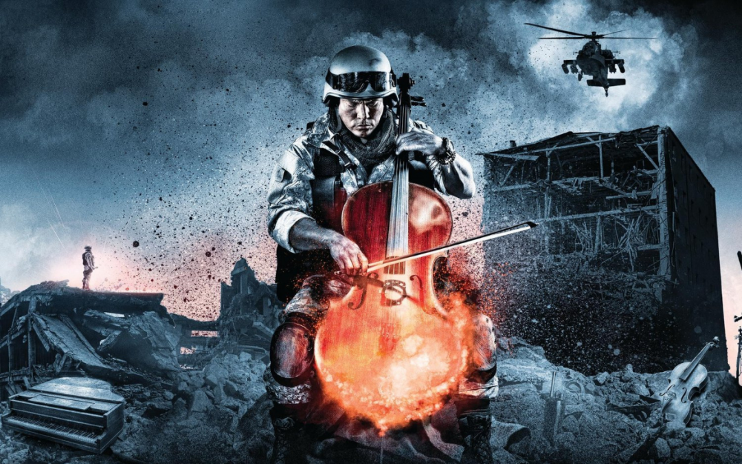 An image of a solider playing on a cello in the middle of a battlefield. From the cover of The Greatest Video Game Music, played by the London Philharmonic Orchestra (2011).