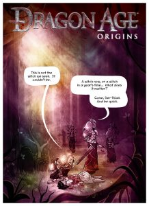 Cover of Dragon Age: Origins Webcomic. Penny Arcade, September 2009.