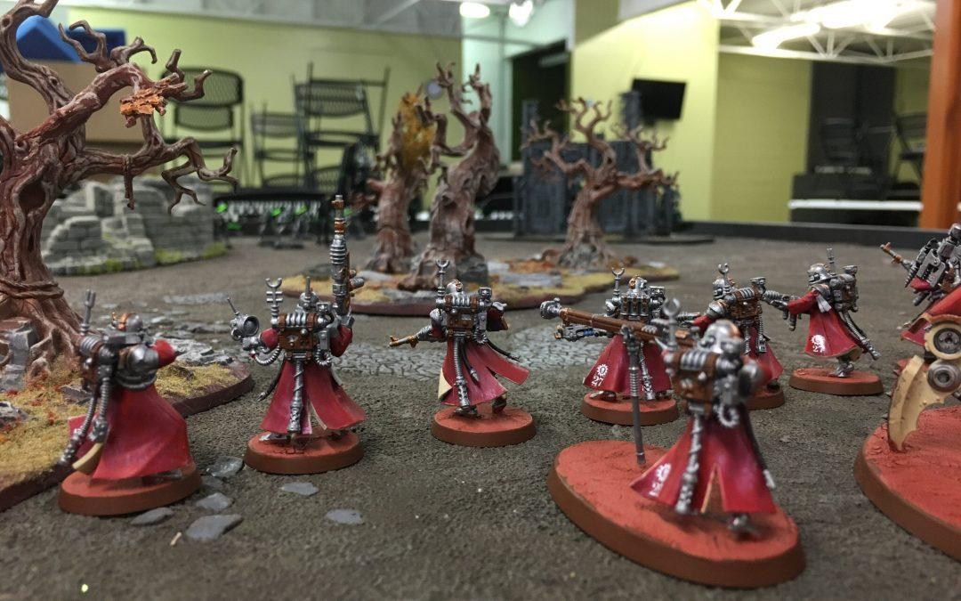 A photo of various Skitarii vanguard minis from Warhammer 40k.