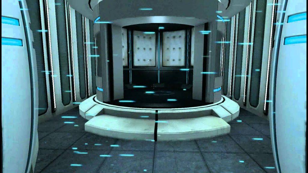 A futuristic-looking elevator. Portal, Valve Corporation, 2007.