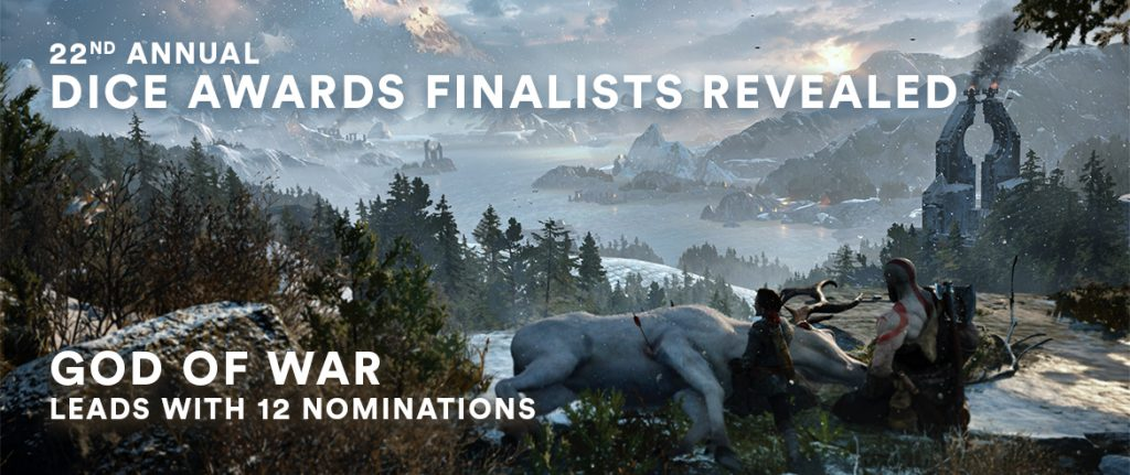 "An image from God Of War showing Kratos and Atreus looking over nature. The words ""22nd annual DICE awards finalists revealed. God Of War leads with 12 nominations,"" are superimposed over the top."