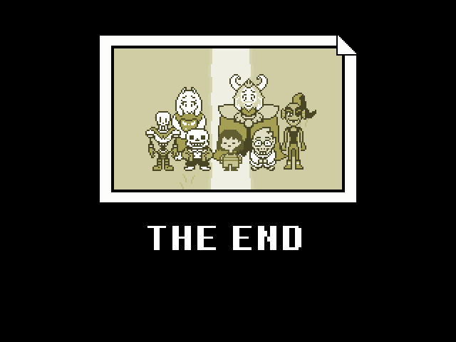 "A sepia-toned photo of the cast of Undertale on a black background. Under the photo, in white text, reads ""THE END"". Undertale, Toby Fox, 2015."