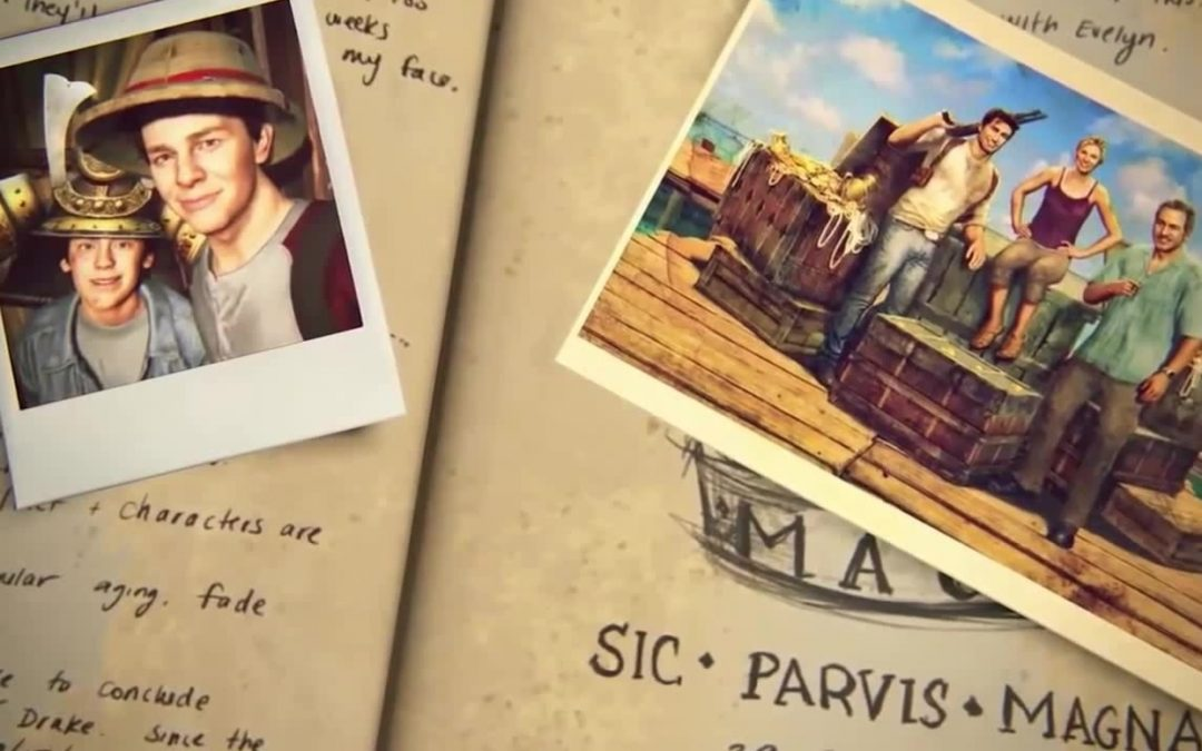 A screenshot of Nathan Drake's journal. On one side there's a bad polaroid photo Nate and Sam as kids, wearing bad explorer's hats and making unflattering faces. On the other side lays a photo of Nate, Elena, and Sully leaning against a pile of crates. The photo of the trio is lying on top of a sketch with SIC • PARVIS • MAGNA written under it. Uncharted 4, Naughty Dog, Sony Computer Entertainment, 2016