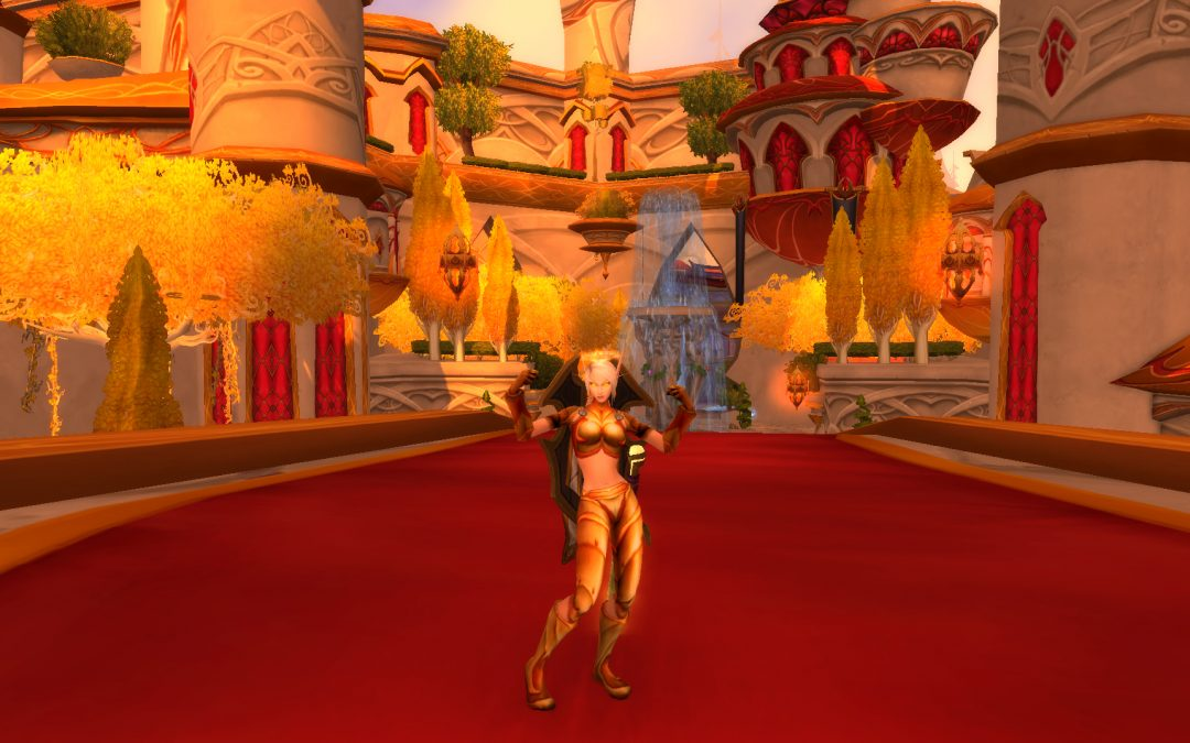 A screenshot of World of Warcraft showing a Blood Elf Protection Paladin standing in Silvermoon City, flexing.