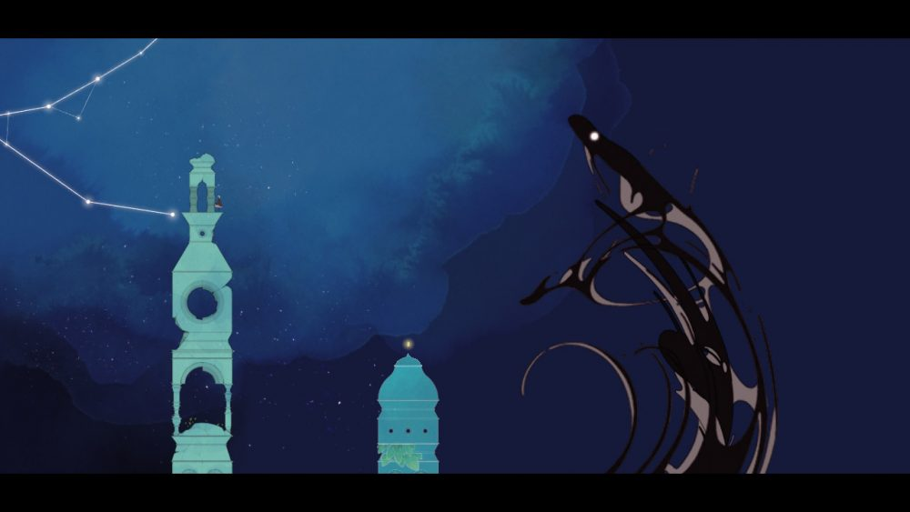 The camera is pulled very far out. Gris stands at the top of a tower towards the left of the screen. Behind her is a small portion of a constellation; in front of her is a swirling mass of darkness that's in the process of forming into an eel-like creature. The backdrop is the night sky; the image is rendered in mostly tones of rich blues and greens. Gris, Nomada Studio, Devolver Digital, 2018