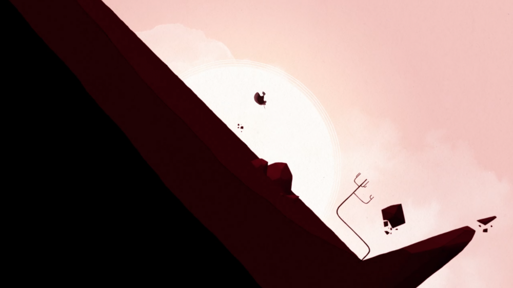 The camera is pulled far out, and the entire screen is rendered in deep red tones. Gris, tiny, is in the downward arc of a jump, falling not-quite-parallel to the hill she's been sliding down. All that's visible is her silhouette; she's lit from behind by a sun in a cloudless sky. There are a few boulders and floating rocks in the foreground, as well as a scraggly tree. Gris, Nomada Studio, Devolver Digital, 2018