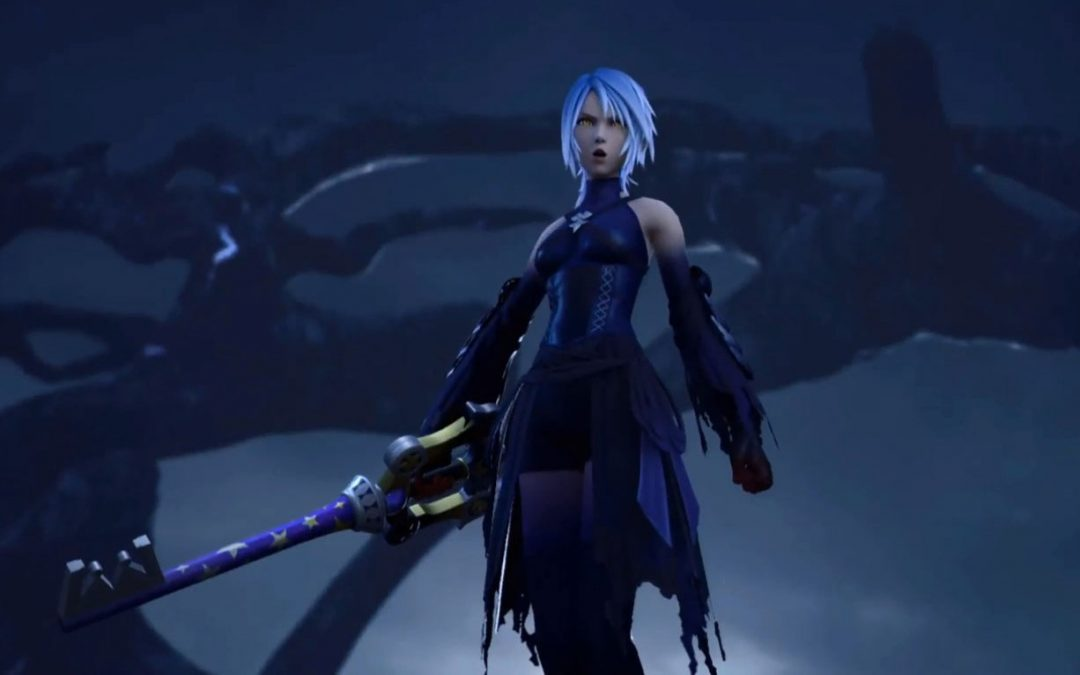 Aqua as she appears in Kingdom Hearts 3, looking ominous and dressed in black.