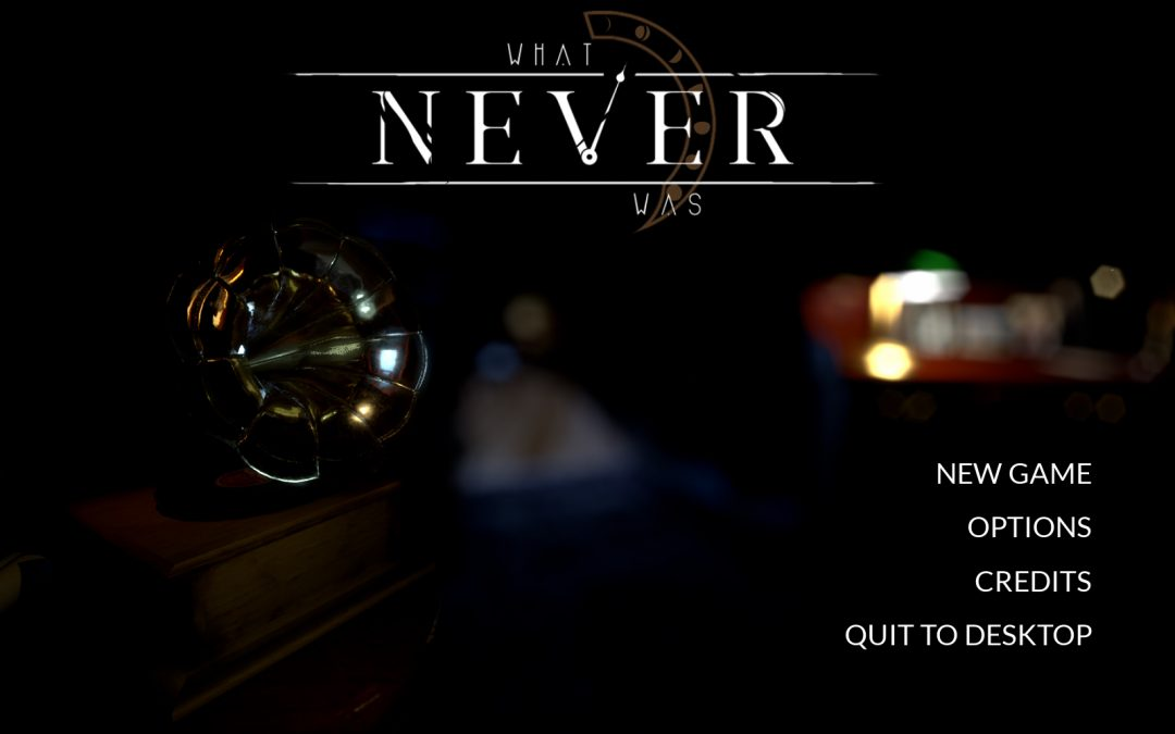 Starting menu screen for What Never Was.