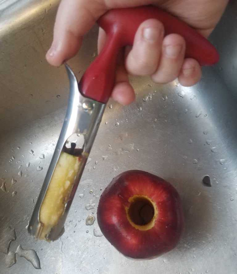 A photo showing Jamey's hand holding an apple corer, which has been used to entirely core a red apple.