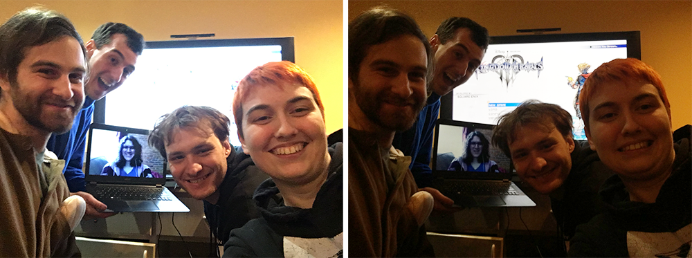 Two selfies of the gang, set next to each other. Four people, all white and all with short hair, crowd in front of a screen. One of the people is holding a computer, on which we can see a woman with long curly hair (the fifth member of our squad). In one selfie, the gang is lit okay but the TV screen is blindingly white; in the other, the gang is basically silhouetted, but you can see the Kingdom Hearts III title screen on the TV. Kingdom Hearts III, Square Enix, 2019; photos by author.