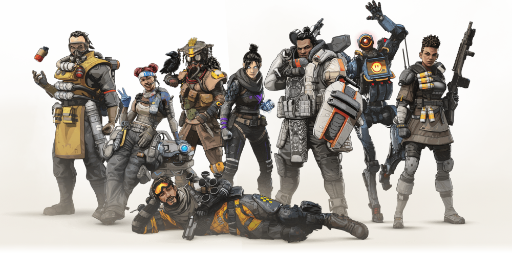A screenshot of some of Apex Legends' character designs.