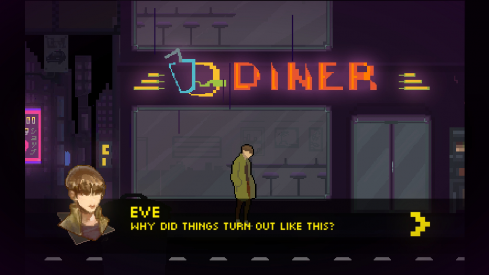 "A screengrab from Beyond the Sense: Lucid Dreamers showing the character Eve walking in front of a diner and saying, ""Why did things turn out like this?"" Beyond the Sense: Lucid Dreamers, HER.E Game Studio, 2019."