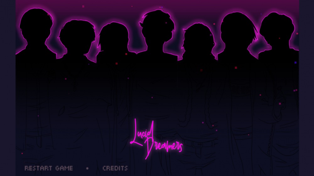 A title screen from Beyond the Sense: Lucid Dreamers showing the band members silhouetted in black and outlined in neon pink. Beyond the Sense: Lucid Dreamers, HER.E Game Studio, 2019.