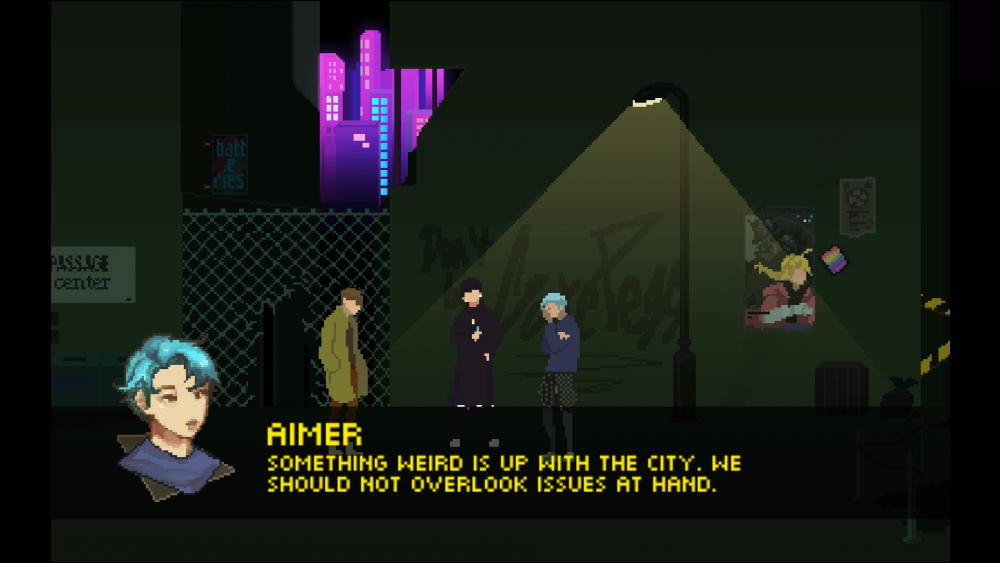 "A screengrab from Beyond the Sense: Lucid Dreamers showing several characters standing in a dark alley. Aimer is saying, ""Something weird is up with the city. We should not overlook issues at hand."" Beyond the Sense: Lucid Dreamers, HER.E Game Studio, 2019."