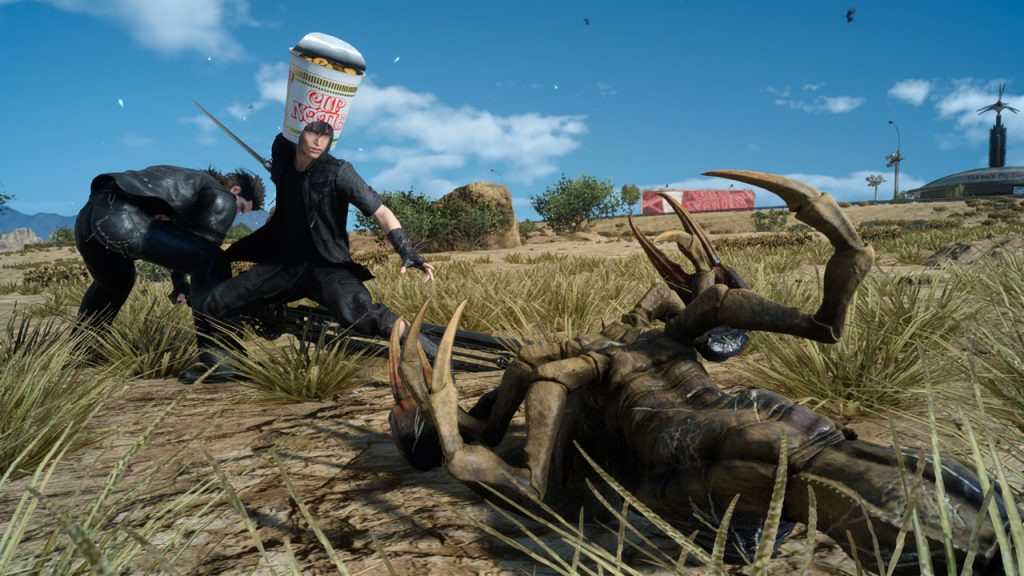 A screenshot of Noctis from Final Fantasy XV wearing a Cup Noodle helmet.