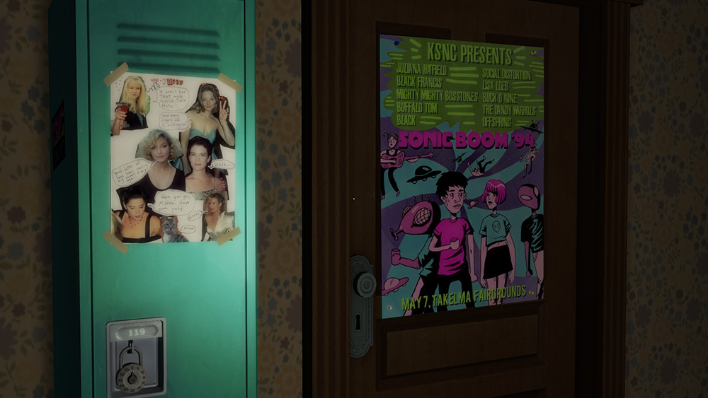 A screenshot showing a collage of some women on a locker and a concert poster for 'Sonic Boom '94.'