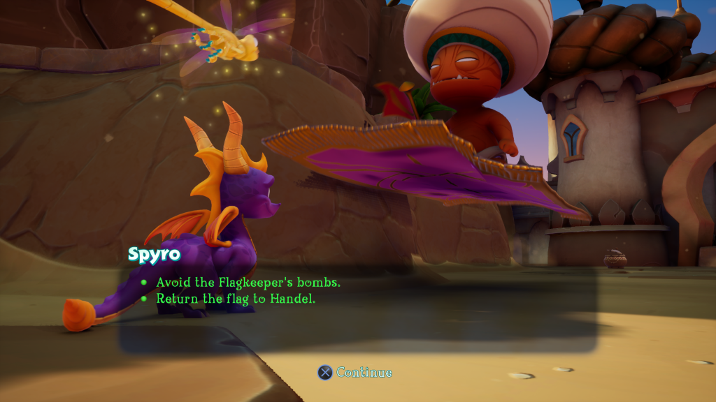 "Bob the Flag Keeper is on a magical carpet in front of Spyro and Sparks. The text is a bullet list that says ""Avoid the Flagkeeper's bombs"" and ""Return the flag to Handel."" Spyro Reignited Trilogy, Toys for Bob, Activision, 2018."