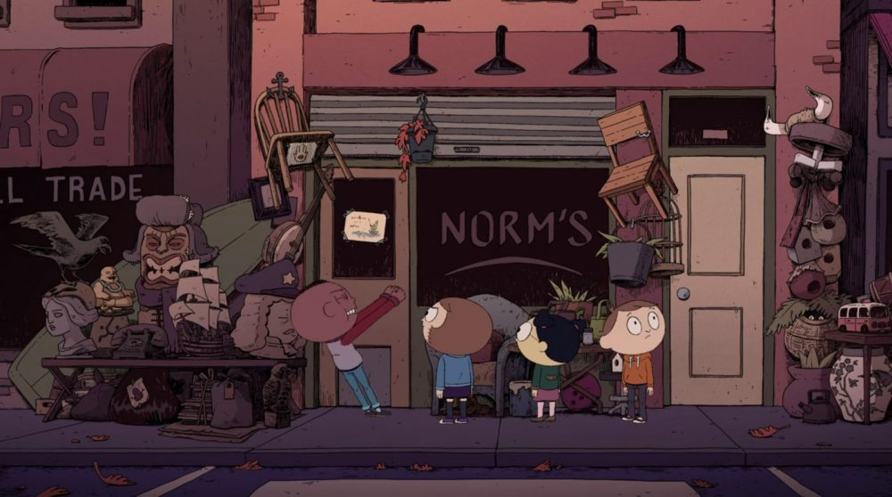 """A screenshot of the Costume Quest show showing the four main characters trying to open the door to a shop called """"NORM'S."""" Costume Quest, Frederator Studios, Amazon Studios, 2019."""