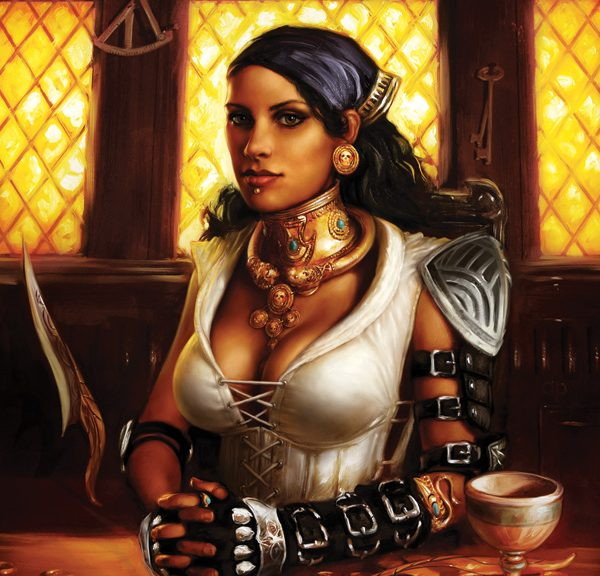 The cover of Dragon Age: Those Who Speak, showing Isabela seated at a table. Dragon Age: Those Who Speak, written by Alexander Freed and David Gaider, 2013.