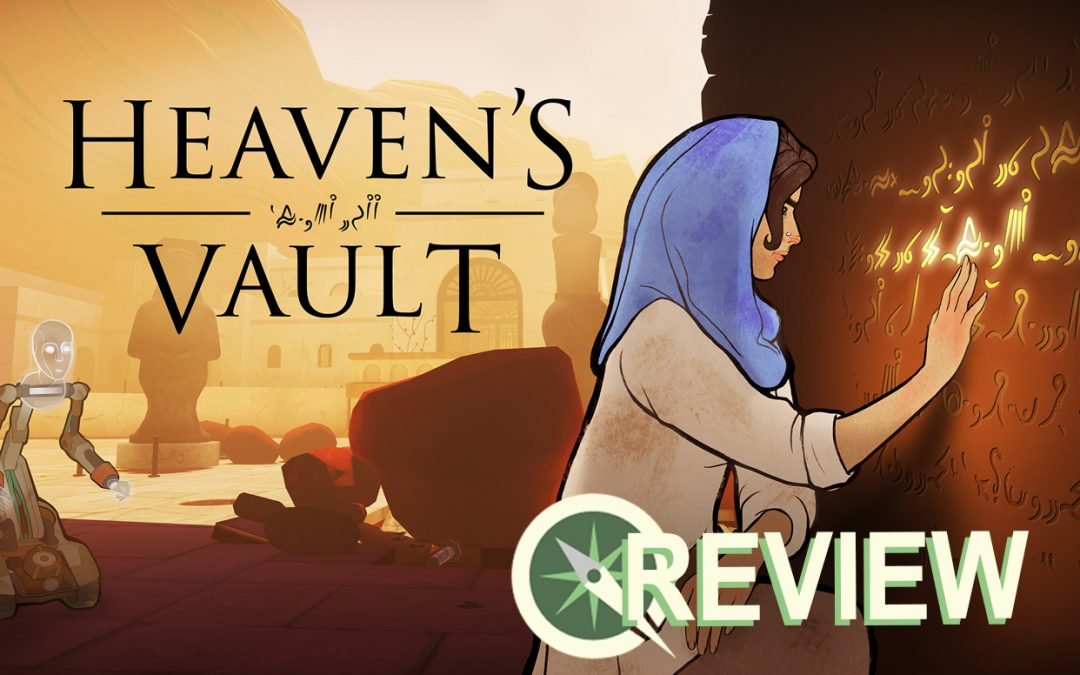 The title card for Heaven's Vault, with the Sidequest review lettering laid over the bottom right corner. In the card, Aliya looks closely at a glowing inscription on a wall. Aliya is a light-skinned woman wearing a beige tunic-like shirt and a blue hijab, and the background is in shades of earthy browns and oranges. HEAVEN'S VAULT, the title of the game, floats towards the top left of the image. Heaven's Vault, Inkle, 2019