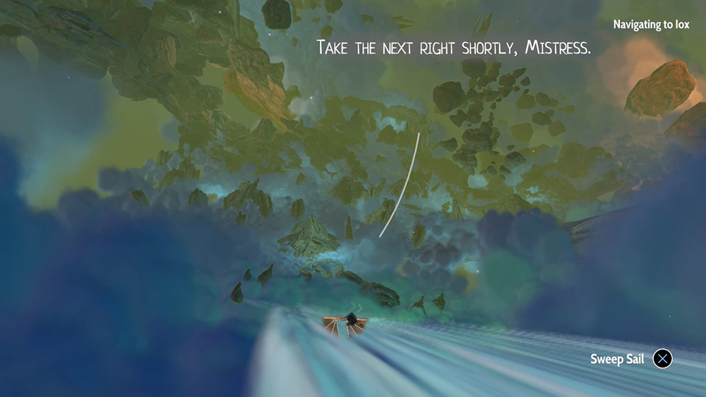"A screenshot of Aliya's ship traveling through the ""waters,"" space highways that connect her system of moons. The ship is small in the foreground, and the player can see the gorgeous blues and greens of the nebula stretching out ahead. Lettering towards the top of the screen shows Six's dialogue: ""Take the next right shortly, Mistress."" Heaven's Vault, Inkle, 2019."