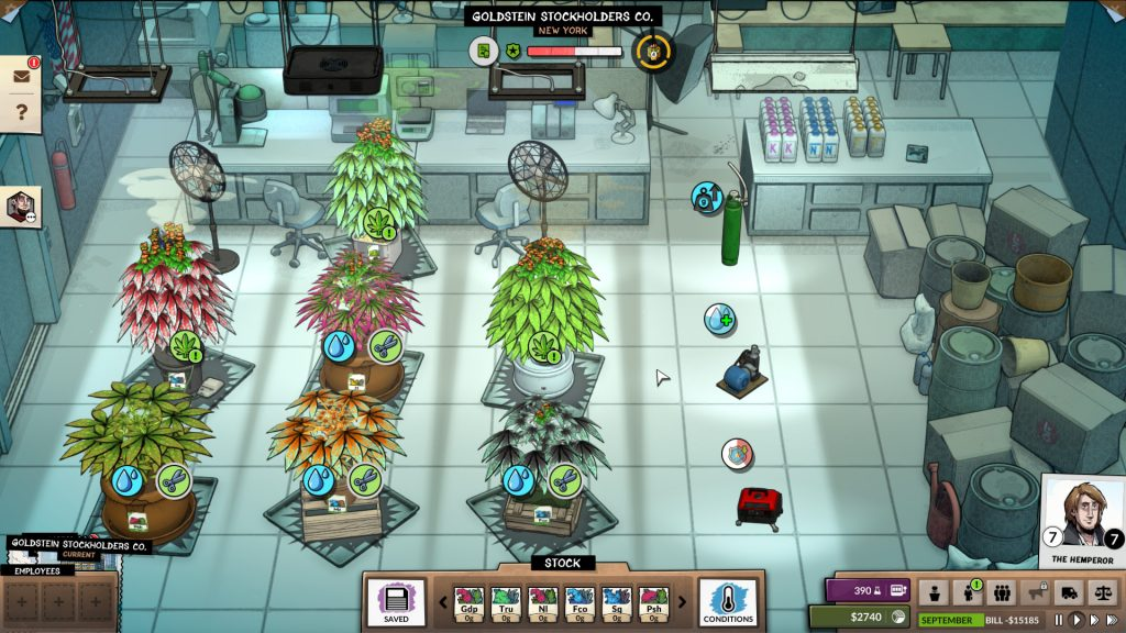 A screenshot of Weedcraft Inc. Weedcraft Inc., Vile Monarch, Devolver Digital, 2019.