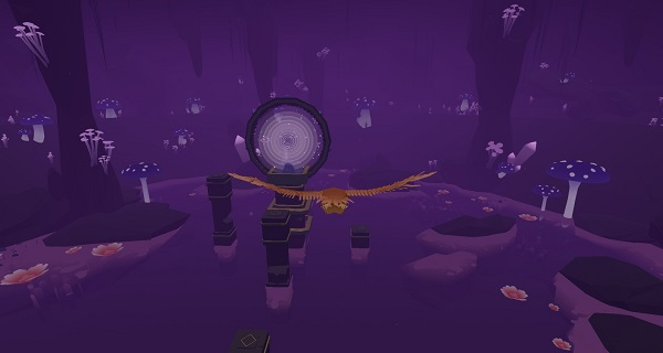 Screenshot of a bird flying through a cavern. The area is purple-coloured, with stone structures emerging from a pool of water. Feather, Samurai Punk, 2019.
