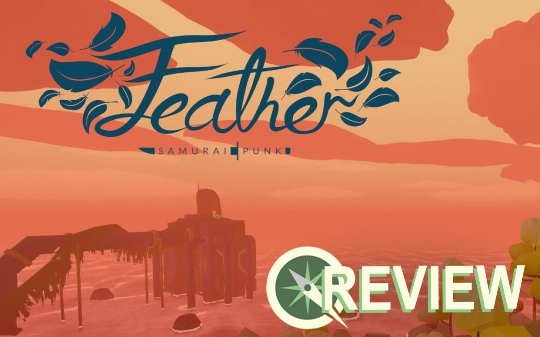 A screenshot showing the title screen of Feather. A sunset lights up an island, coastal scene filled with trees