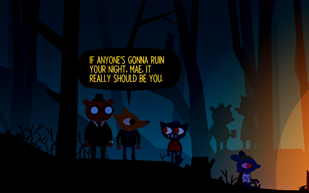 "Screenshot of Night in the Woods. Mae and her friends Angus and Gregg are attending a party in the woods. Gregg is saying ""If anyone's gonna ruin your night, Mae, it really should be you. Night In The Woods, Infinite Fall, Finji, 2017."