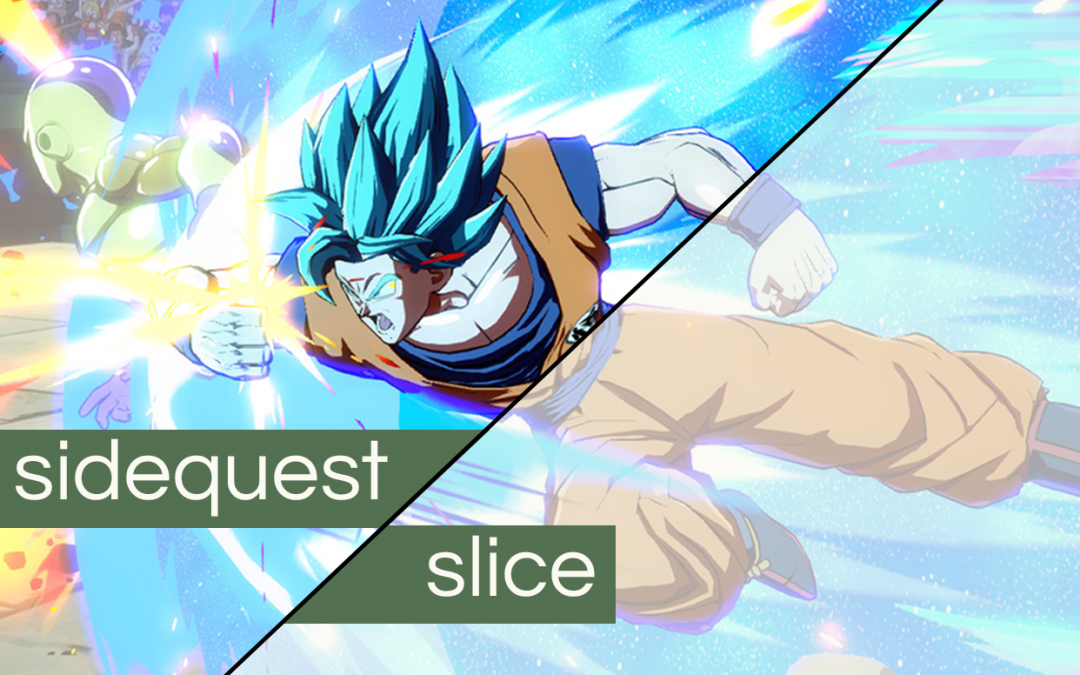 "A screenshot of Dragon Ball FighterZ with the words ""Sidequest Slice"" on top."