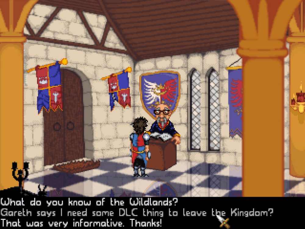 """Center of the screen, a man stands in front of an older, bespectacled, balding man behind a desk in a regally decorated castle hallway. Dialogue options frame the screen below: """"What do you know of the Wildlands?"""",""""Gareth says I need some DLC thing to leave the Kingdom?"""", and """"That was very informative. Thanks!"""" Guard Duty, Sick Chicken Studios, Digital Tribe, 2019."""
